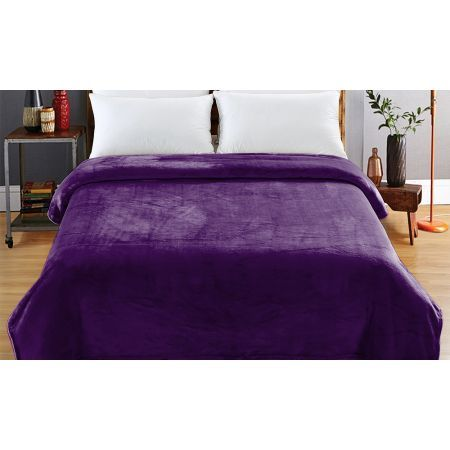 Heavy Mink Coral Fleece Blanket XL - Aubergine