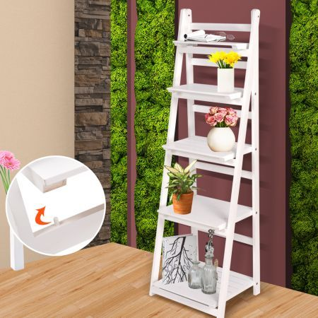5 Tier Wooden Ladder Shelf Stand Storage Book Shelves