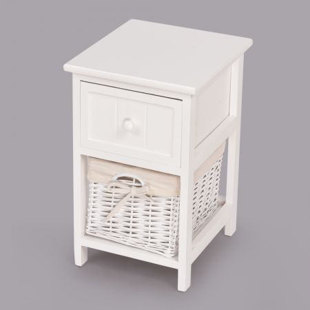 2Pcs Retro Chic Wooden Bedside Tables - White