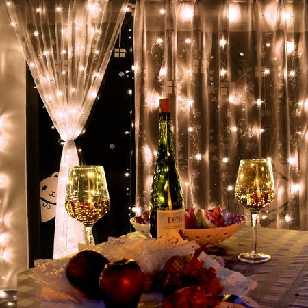 LED Warm White Outdoor Christmas Garden Party Curtain Lights