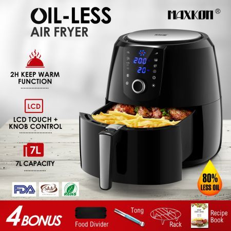 Maxkon New 7L Air Fryer LCD Health Cooker Low Oil Rapid Deep Frying 1800W Black