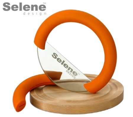 SELENE Stainless Steel Herb Cutter with Bamboo Board - Orange