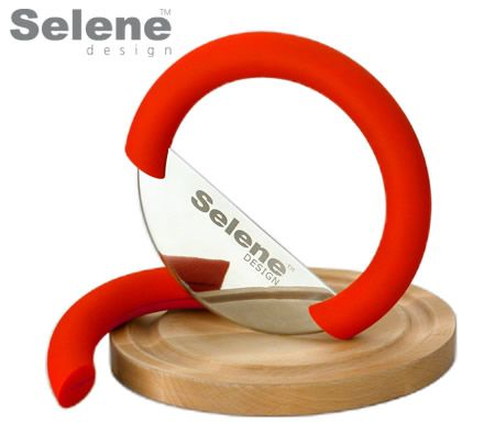 SELENE Stainless Steel Herb Cutter with Bamboo Board - Red