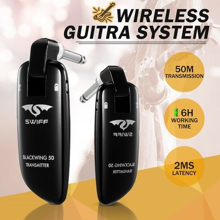 SWIFF 2.4GHz 50M Wireless Guitar System Instrument Transmitter and Receiver- New