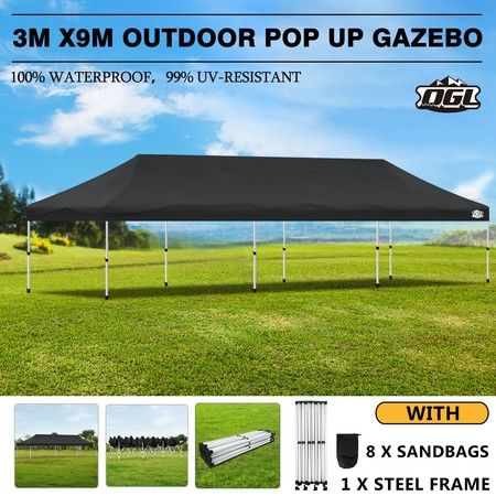 OGL 3x9m Pop Up Gazebo Outdoor Canopy Marquee Folding Party Wedding Camping Tent Black