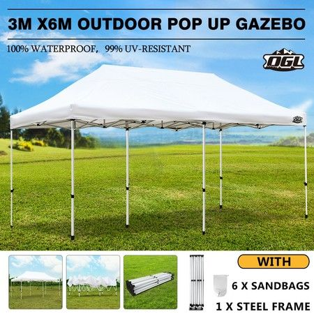 OGL 3x6m Pop Up Gazebo Outdoor Canopy Marquee Folding Party Wedding Camping Tent White