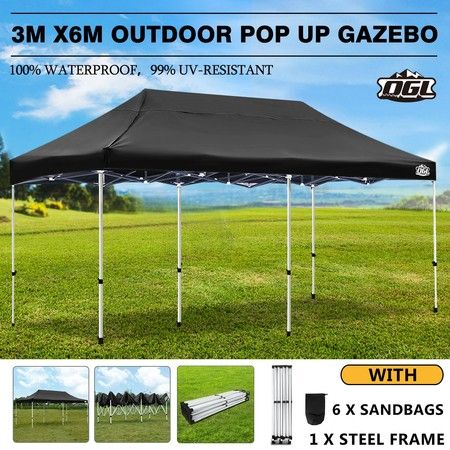 OGL 3x6m Pop Up Gazebo Outdoor Canopy Marquee Folding Party Wedding Camping Tent Black