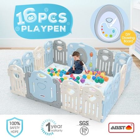 ABST 16 Sided Panel Baby Playpen Interactive Kids Play Room Toddler Safety Gates
