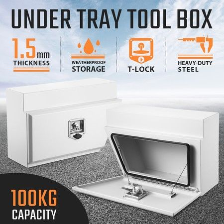 New Pair of Steel Under Tray Tool Boxes Truck Bed Box Underbody Toolbox Organizers - White