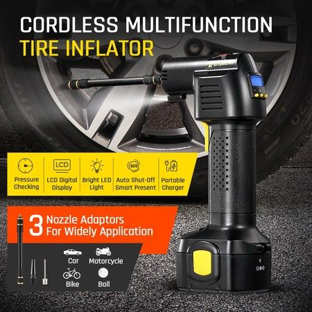 New Cordless Tyre Inflator Car Air Compressor Electric Tyre Pump W/ Digital LCD 12V