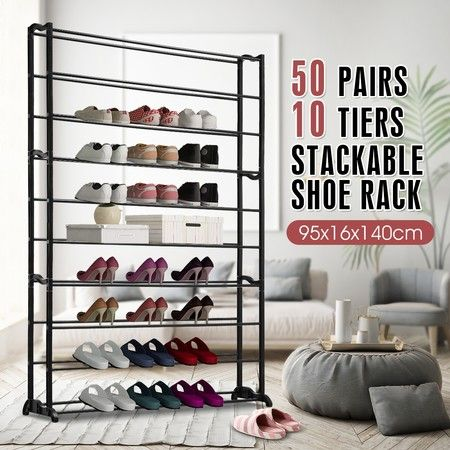 New 50 Pairs 10 Tiers Metal Shoe Rack Stackable Shelf Storage Organizer 140cm Height