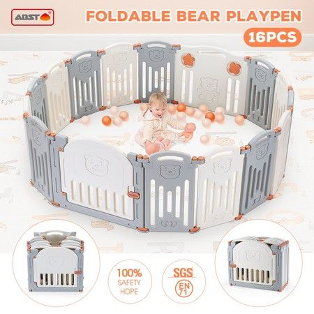 ABST 16 Sided Foldable Panel Baby Playpen Interactive Baby Room Kids Safety Gates Bear
