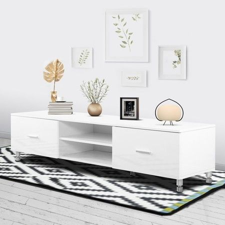 TV Stand Unit Storage Entertainment Cabinet 160cm Lowline  Wooden Drawer Shelf White