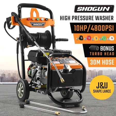 SHOGUN 4800PSI 10HP High Pressure Washer Petrol Water Gurney Cleaner W/ 30M Hose