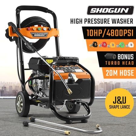 SHOGUN 4800PSI 10HP High Pressure Washer Petrol Water Gurney Cleaner W/ 20M Hose