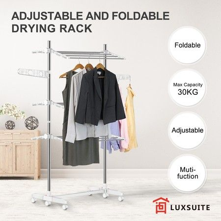 New Foldable Clothes Airer Drying Rack Indoor Outdoor Laundry Hanger W/ 6 Wheels