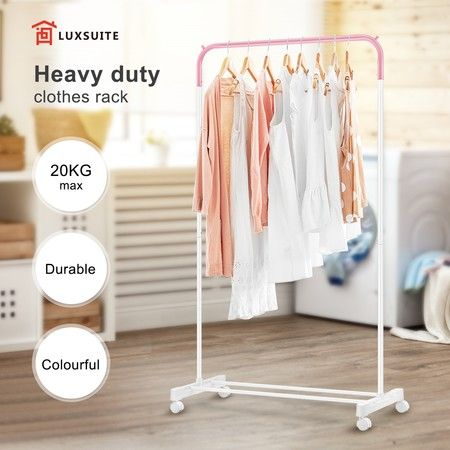New Clothes Rack Hanger Stand Hanging Rod Metal Rail Portable Storage W/4 Wheels
