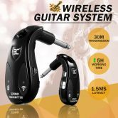 New 2.4GHz 30M Wireless Guitar System Instrument Transmitter and Receiver - Black