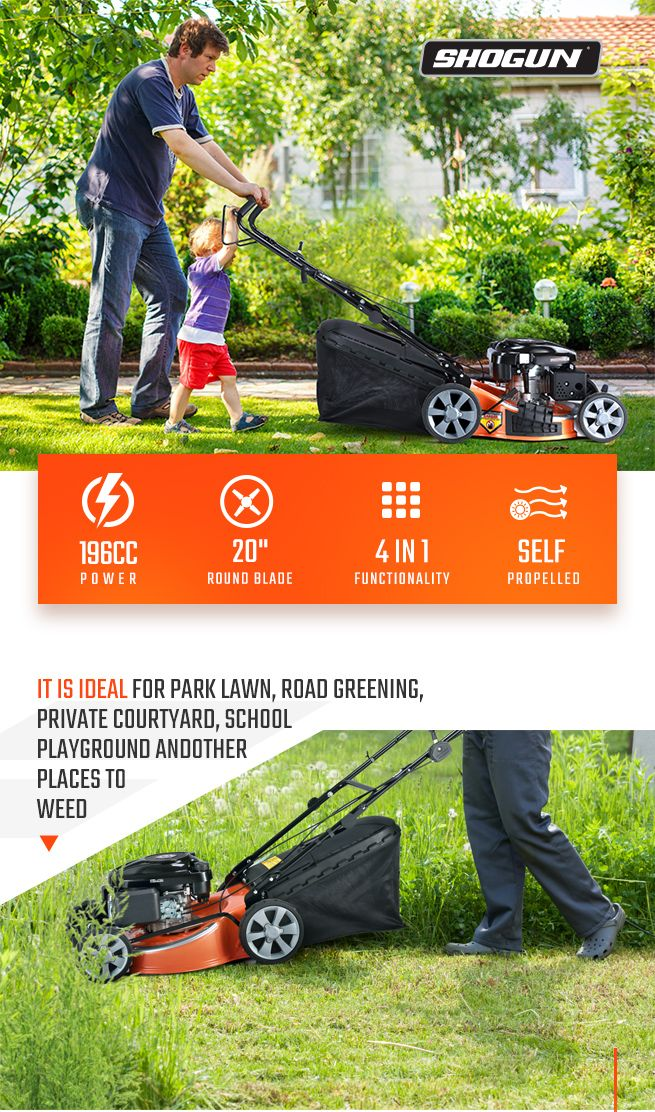 SHOGUN 4-In-1 Cordless Lawn Mower Self Propelled 20