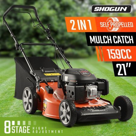 "SHOGUN 2-In-1 Cordless Lawn Mower Self Propelled 21"" 159cc 4 Stroke Petrol Lawnmower"