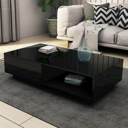 Modern Coffee Table Storage Drawer Shelf Cabinet High
