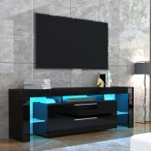 TV Stand Entertainment Unit 2 Drawers Storage Cabinet Wood Furniture - Black