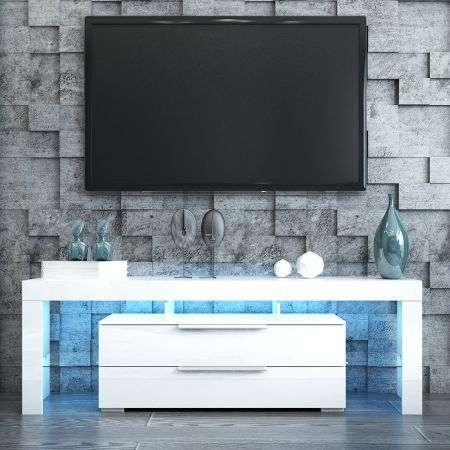 TV Stand Entertainment Unit 2 Drawers Storage Cabinet Wood Furniture - White