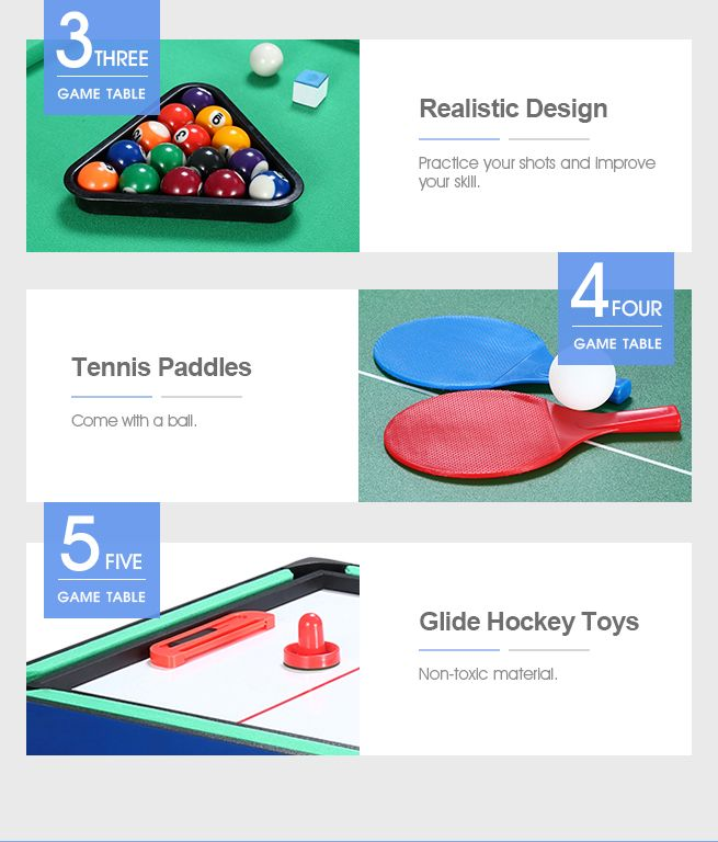 5-in-1 Multi Game Table Pool Hockey Soccer Table Tennis Foosball Basketball Family Sport