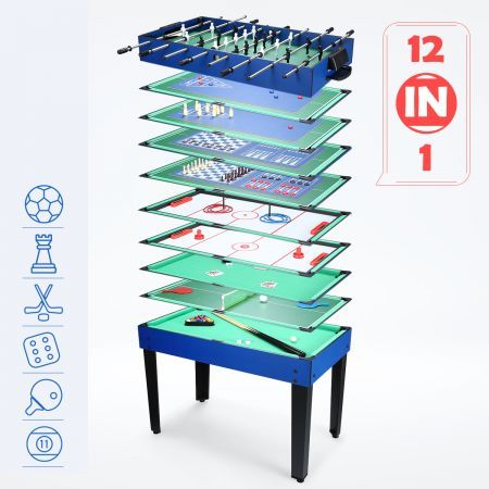 12-in-1 Multi Game Table Foosball Pool Hockey Table Tennis Bowling Soccer Family Toy