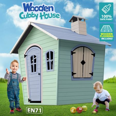 Wooden Outdoor Playhouse Kids Cubby House Cottage Children Toy Play