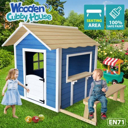 Kids Wooden Cubby House Outdoor Playhouse Cottage Children Toy Play