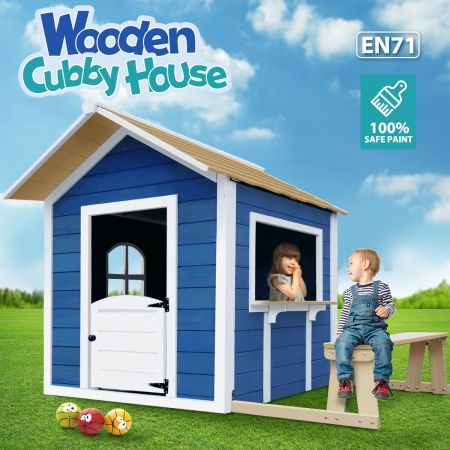 Kids Wooden Cubby House Outdoor Playhouse Cottage Children Toy Play Seat Set