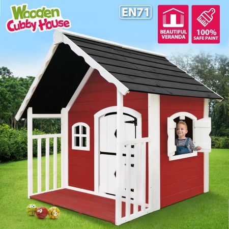 Outdoor Cubby House Kids Wooden Playhouse Cottage Verandah Children Toy Play