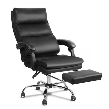 PU Leather Racing Style Office Desk Chair - Black