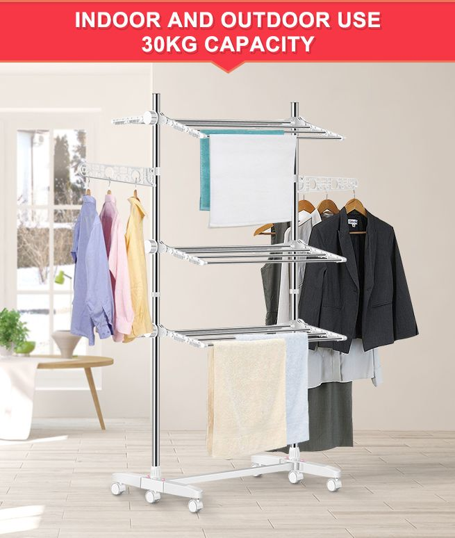 New Foldable Clothes Airer Drying Rack Indoor Outdoor