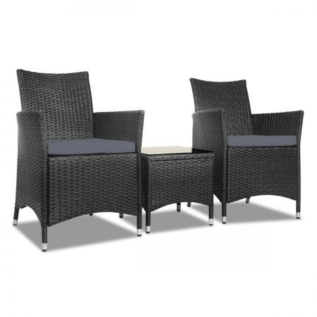Gardeon 3pc Rattan Bistro Wicker Outdoor Furniture Set - Black