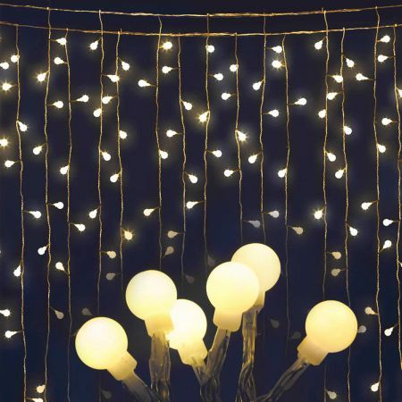 Jingle Jollys 600 LED Curtain Lights - Warm White