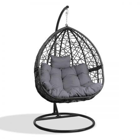 Gardeon Outdoor Hanging Swing Chair Black Crazy Sales