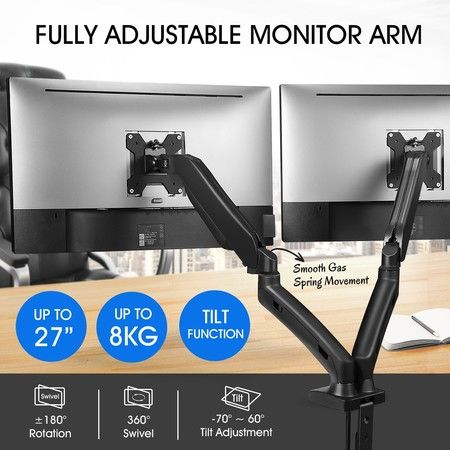 Dual LCD LED Monitor Arm Desk Mount Stand Display Gas Spring TV Screen Holder Bracket