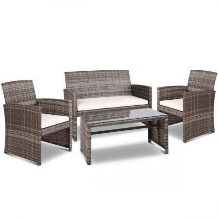 Gardeon Set Of 4 Outdoor Rattan Chairs Table Grey Crazy Sales
