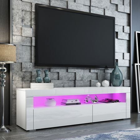 TV Stand Cabinet 155cm Wood Entertainment Unit LED Gloss Storage Shelf - White