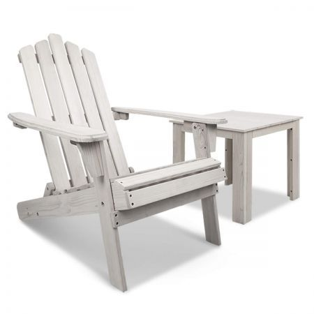 2pcs Adirondack Outdoor Chair Table Set - Beige