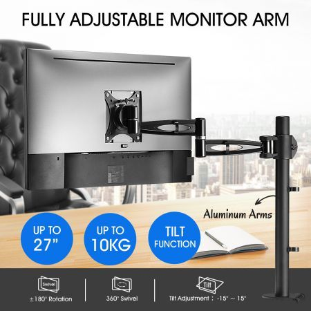 Single LCD LED Monitor Arm Desk Mount Stand Display Adjustable TV Screen Holder Bracket