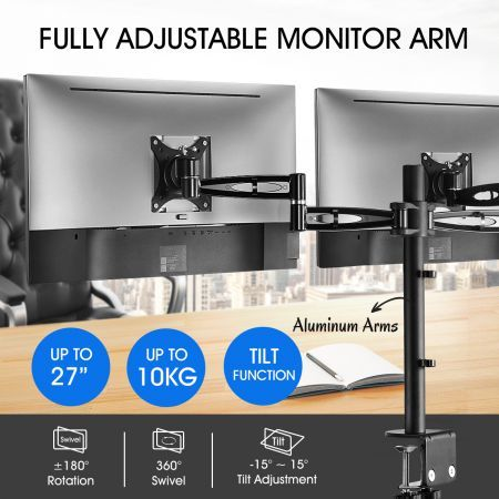 Dual LCD LED Monitor Arm Desk Mount Stand Display Adjustable TV Screen Holder Bracket