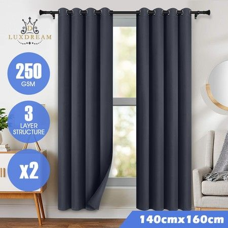 LUXDREAM 2X Blockout Curtains 3-Layer Insulated Darkening Drapes 140X160CM -Grey