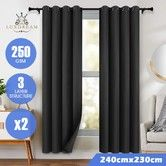 LUXDREAM 2X Blockout Curtains 3-Layer Insulating Room Darkening Drapes 240X230CM