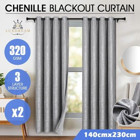 LUXDREAM 2X Chenille Blockout Curtains 3-Layer Darkening Drapes 140X230CM Silver