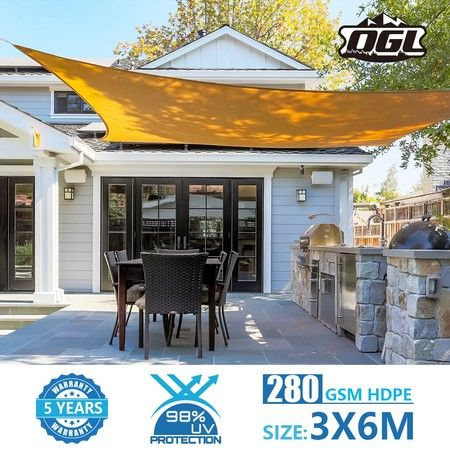 OGL 3x6m Outdoor Sun Shade Sail Canopy 280GSM 98% UV Block Sand Beige Cloth Rectangle