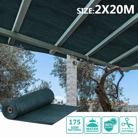 OGL 90% UV Block Sun Shade Cloth Sail Roll 2x20m Mesh Shadecloth Outdoor 175GSM Dark Green