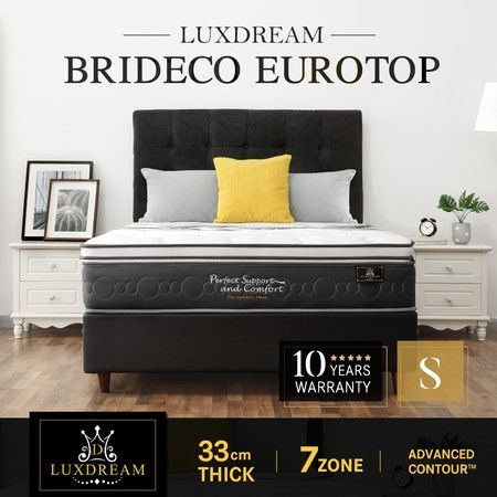 Luxdream 33cm Brideco 7 Zone Euro Top Pocket Spring Foam Mattress – Single